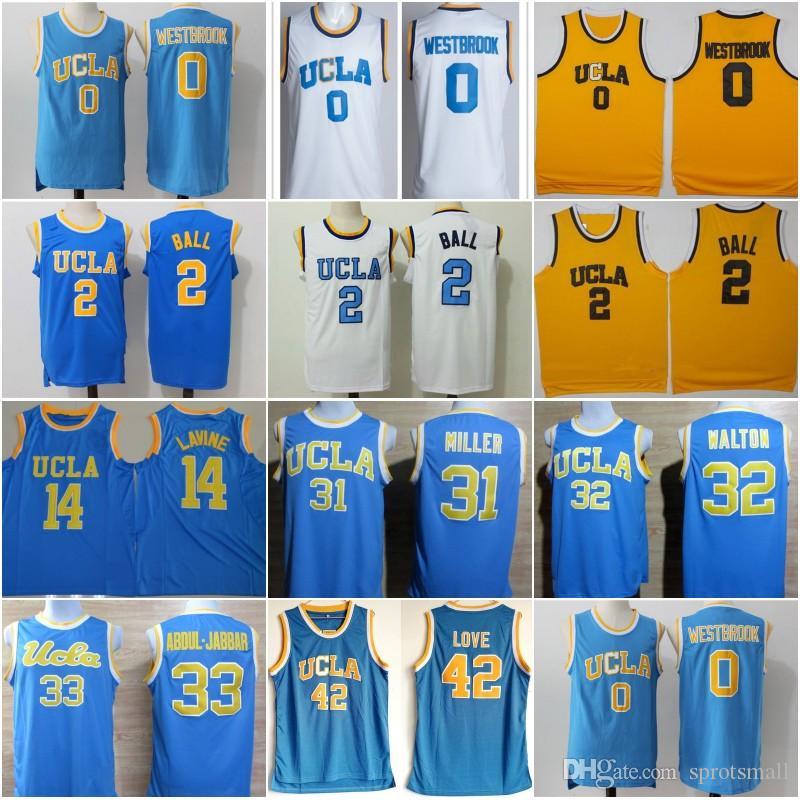 official photos 90392 236a4 Russell Westbrook UCLA Lonzo Ball Zach LaVine College Basketball Shirts  Kareem Abdul Jabbar Reggie Miller Bill Walton Kevin Love Jersey