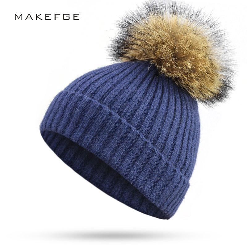 5f150e7d7cc 2019 2018 New Women Beanies Raccoon Fur Pom Poms Wool Hat Beanie Knitted  Skullies Fashion Caps Ladies Knit Cap Winter Hats For Women From Longanguo