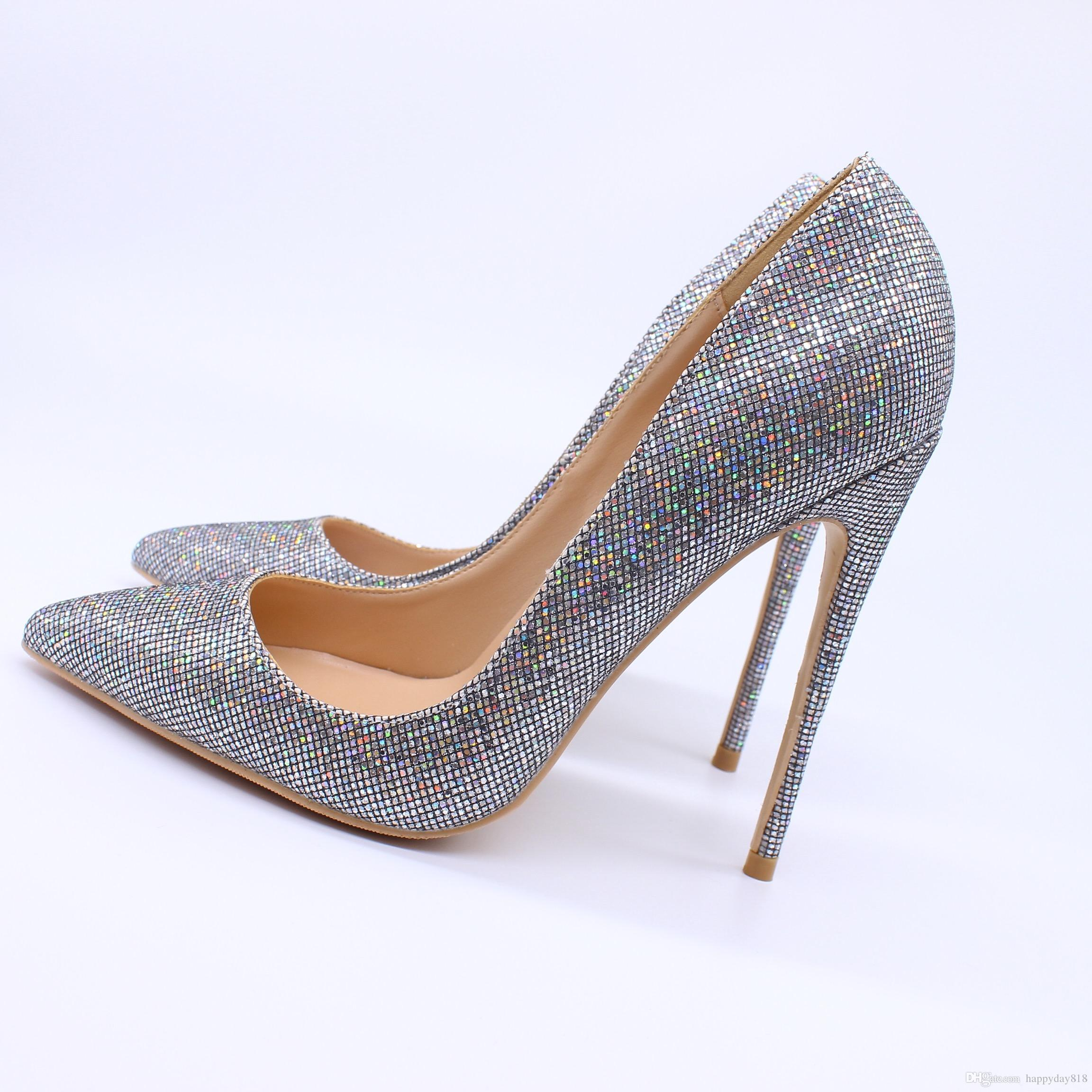 84f5a01905 Free shipping fashion women pumps Multi Glitter strass pointed toe high  heels sandals shoes boots bride wedding pumps 120mm 100mm 80mm