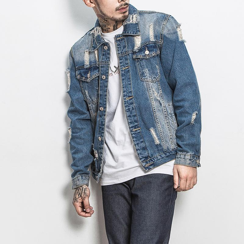 bd08c325b3f Hot Sale Men Denim Jacket Fashion Slim Fit Ripped Jeans Jackets Men Plus  Size New Turn Down Collar Long Sleeve Men S Coats 5XL M Denim Jacket Wool  Collar ...