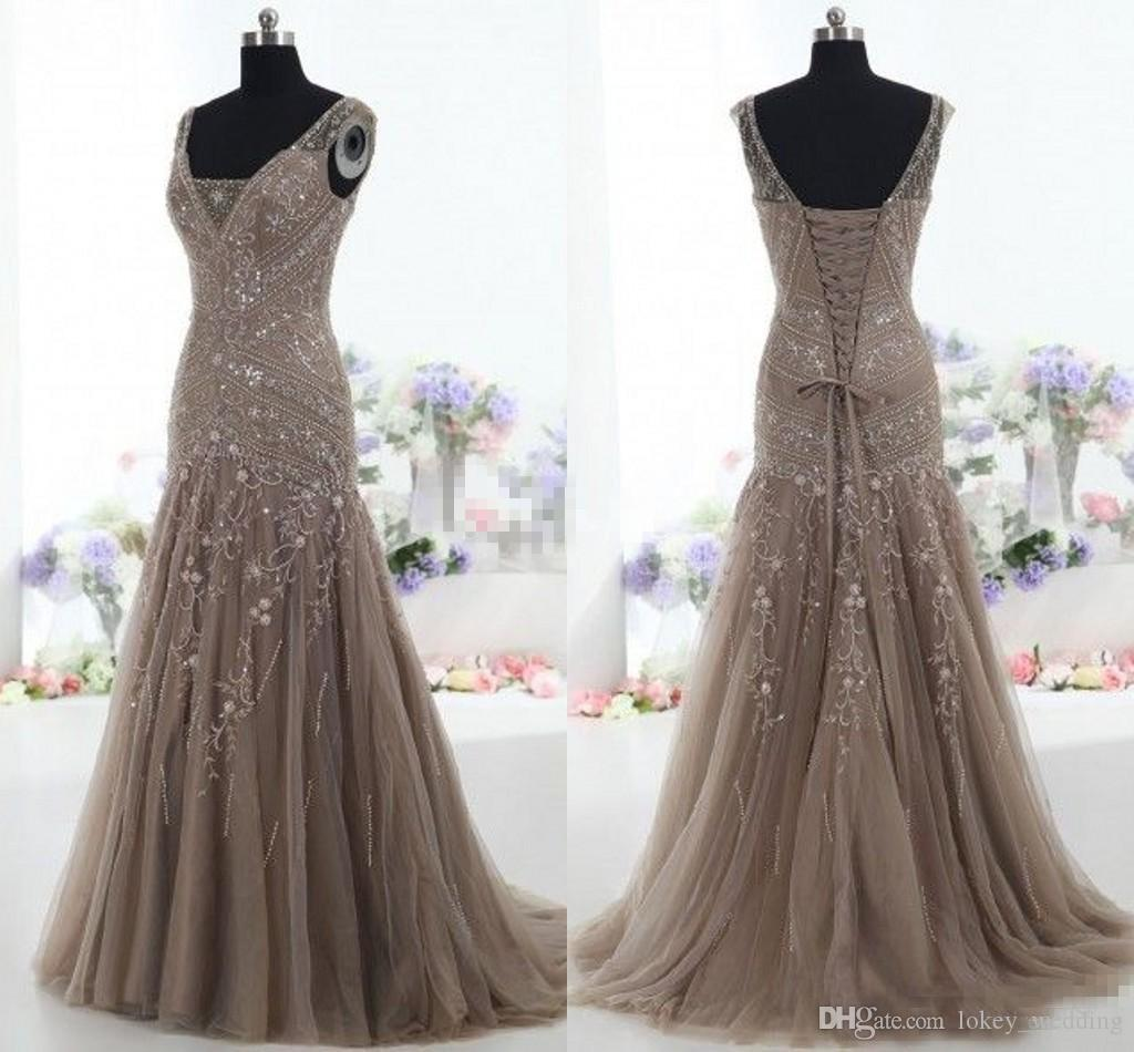 2018 Brown Tulle Vintage Mother of the Bride Dresses Mermaid V Neck Applique Beads Tulle Corset Custom Made Mother Formal Evening Gowns