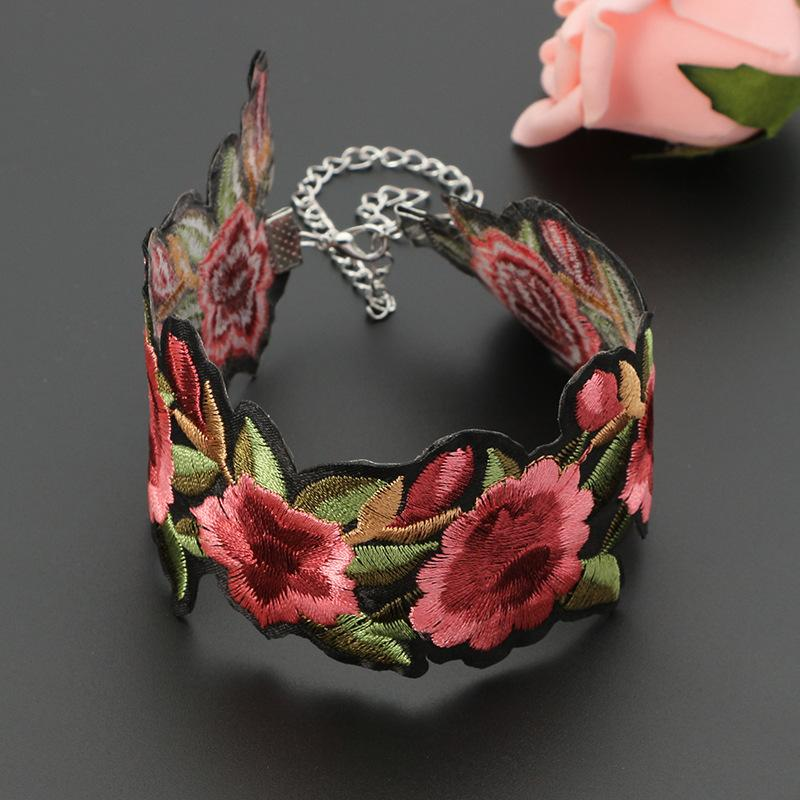 Diseño de moda flor hoja bordado gargantillas collares - tatuaje verde rosa roja hermosa cinta gargantilla collar fresco Hip Hop joyería