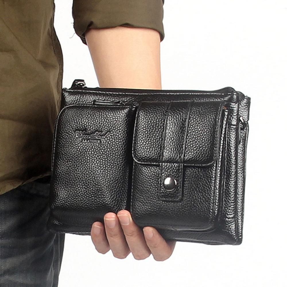 Men Genuine Leather First Layer Cowhide Waist Fanny Belt Hip Bum Male Clutch Tote HandBag Messenger Shoulder Cross Body Bag