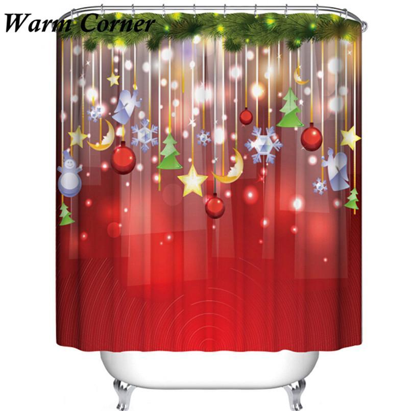 Großhandel Duschvorhang 1 Satz Hohe Qualität Santa Star Weihnachten ...