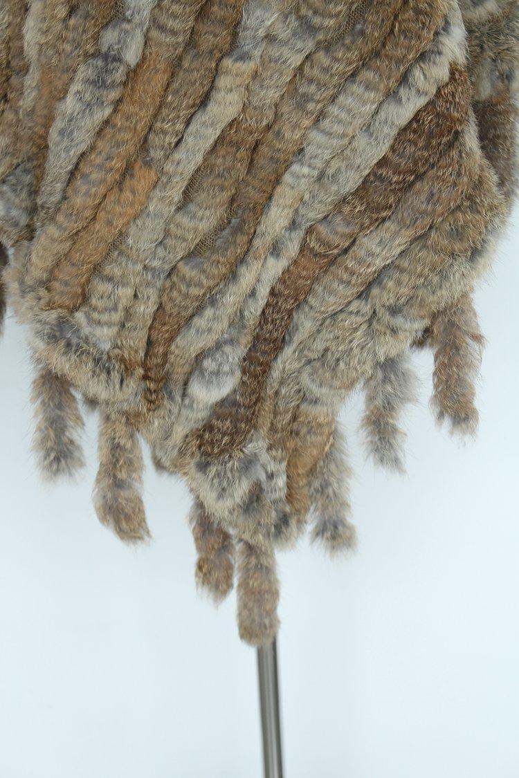 2018 nuevas mujeres de moda genuinas de punto poncho de piel de conejo natural con borlas, capas y abrigos de piel real para mujer negro