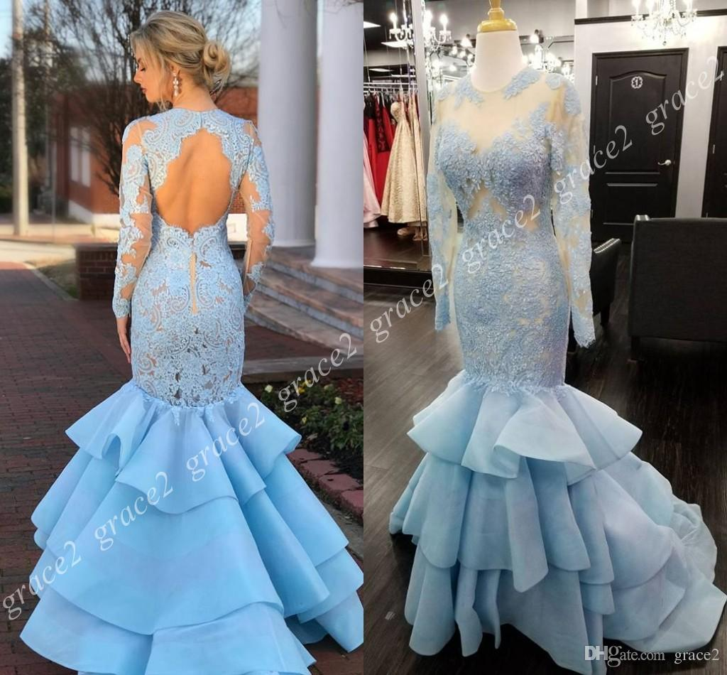 Lace Tiered Trumpet Prom Gowns 52044 2018 with Long Sleeves & Lace ...