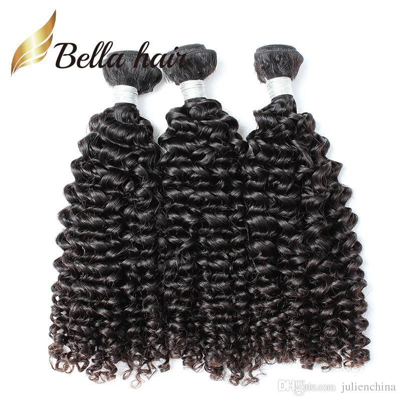 100% Grad 9a Brasilianska Hårväft Naturliga färgförlängningar 3st / Många Curly Bundles Julienchina Bellahair