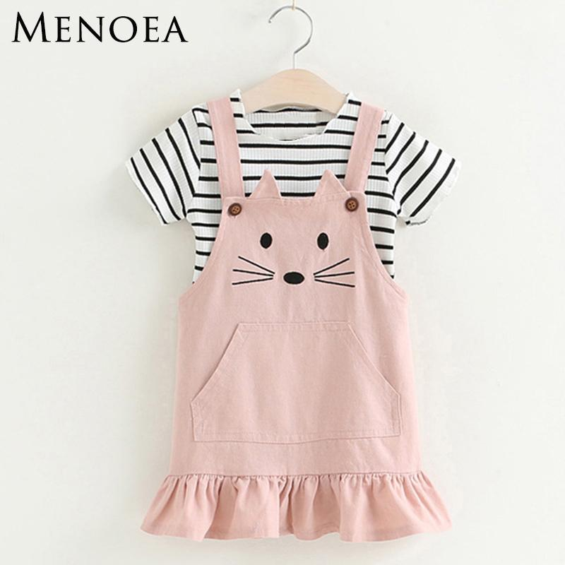 Girls Clothing Sets 2018 New Lovely Kitten Children Clothes Sets Kids  Clothes Pullover Stripe T-Shirt Cute Style For 3-7 Y1892605