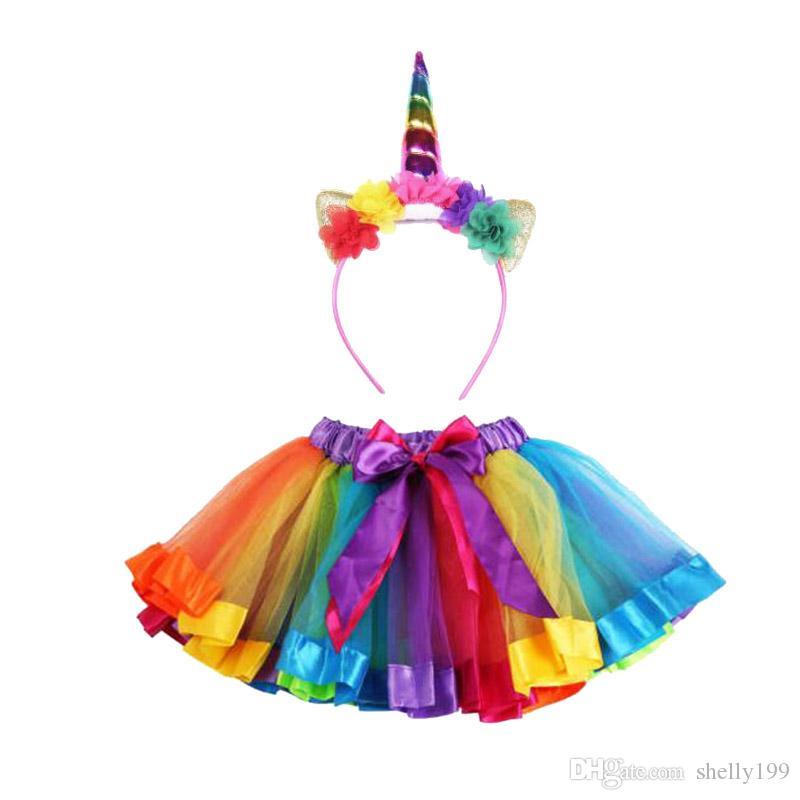 طفل الفتيات يونيكورن توتو تنورة مجموعة يونيكورن عقال + توتو تنورة rainbow تنورات قصيرة أعياد ميلاد حزب تنورات قصيرة تنورة الفتيات pettiskrit الملابس