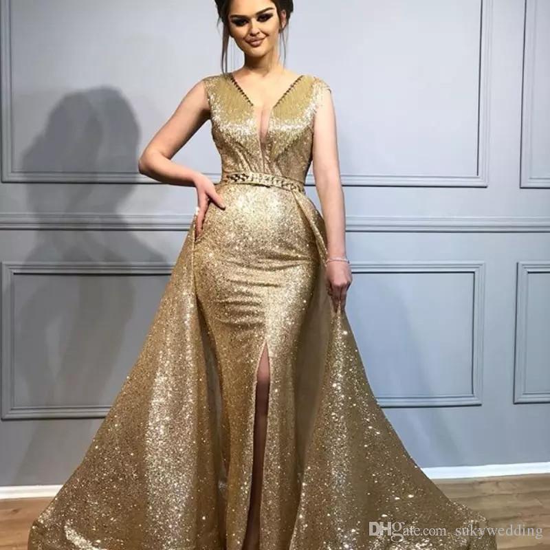 ad425d6816 Gold Sequin Prom Dresses Side Split Mermaid Evening Dresses With Detachable  Train Crystals V Neck Sleeveless Prom Dress Zipper Floor Length Lds Prom  Dresses ...