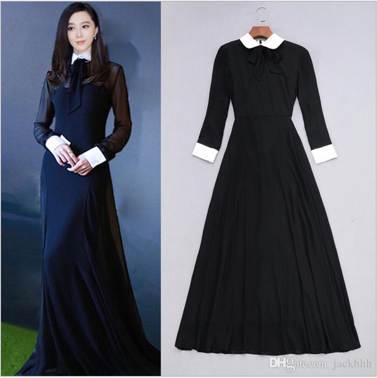 71cbdabcfe4 fancy 2018 brand women's one piece dress brand designer dress sexy runway  dresses luxury long sleeve maxi long dress black 84732
