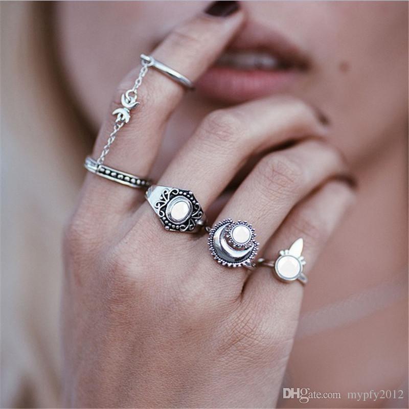Nova Boho Knuckle Anéis Para As Mulheres Meninas De Prata Do Vintage De Ouro 5 Pçs / set Midi Conjuntos de Anéis de Dedo Anel de Opala Presentes da Festa de Jóias HZ