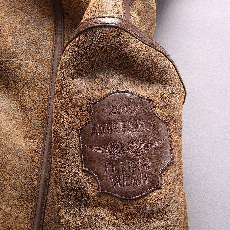 kahverengi 2013 AVIREXFLY hakiki deri ceketler UÇAN GİYİM ABD hava kuvvetleri% 100 hakiki koyun derisi Kuzu kürk astarlı ceketler