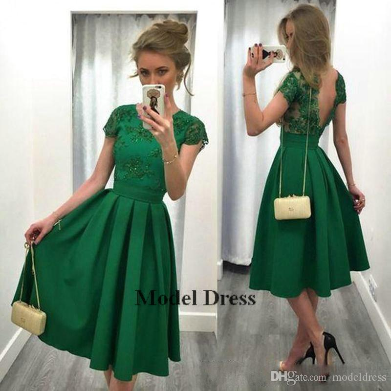 Yeşil Kısa Gelinlik Modelleri Aç Geri Kısa Kollu Diz Boyu Aplikler Draped Kadınlar Örgün Abiye giyim için Özel Durum