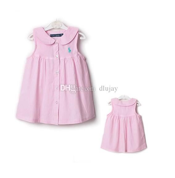 4ddfe34d5 Brand New Kids Polo Dress Casual Girls Lapel Polo Dress Baby Cotton ...