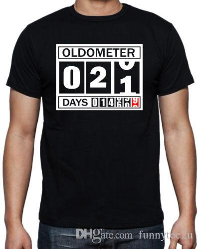 21st Birthday Oldometer Funny Present Gift Party Son Brother Mens Black T Shirt For Men Summer Short Sleeve Cotton Custom 3XL Group Best