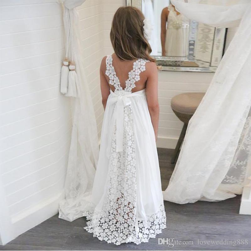 2018 Einfache Weiße Chiffon Spitze Blumenmädchenkleider Heilige Erstkommunion Kleider Kleine Mädchen Taufkleid Abendkleid Billig