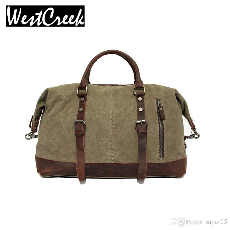 46da967696 Vintage Military Canvas Leather Big Duffle Bag Men Travel Bags Carry On Traveling  Luggage Bags Large Road Weekend Bag Tote Men Purses Designer Handbags From  ...
