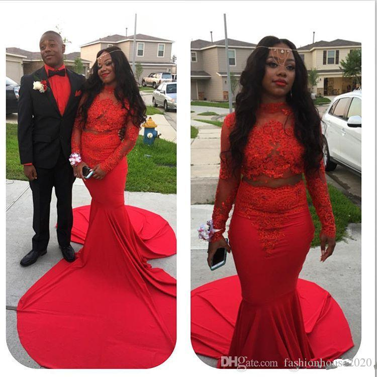 2018 African Black Girl Red Evening Dresses High Neck Lace Appliques Two Pieces Long Sleeves Mermaid Illusion Long Prom Party Pageant Gowns