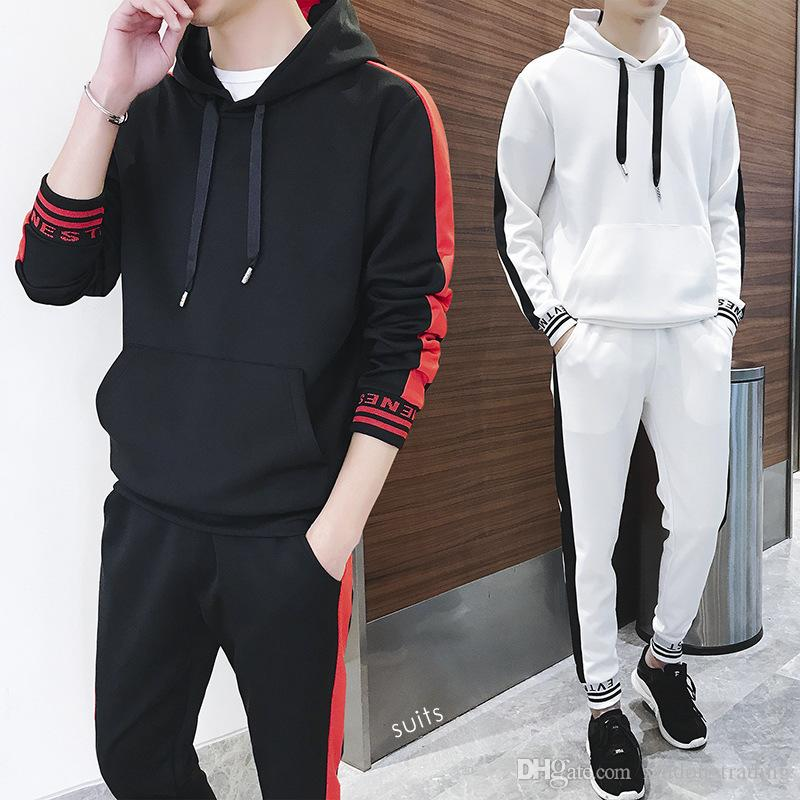 New Listing 2 Piece Sets Long Sleeve Fashion Hooded Jacket Suit Men Spring Autumn Sporting Suit Jacket + Pant Male Tracksuit Set Sportswear