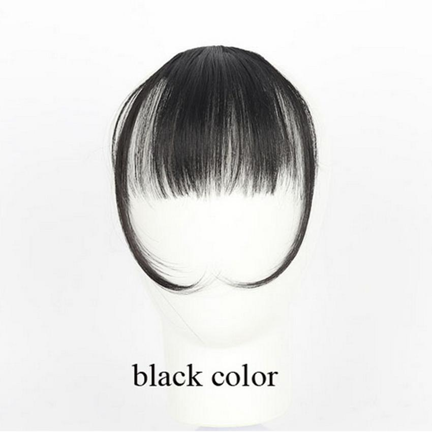 Natural Thin Bang Clip on Hair Fringe Extensions with temple Hair pieces Synthetic Hair