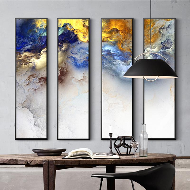 Modern Chinese painting 4 Piece Canvas Painting Abstract Landscape Prints For Modern Living Room Bedroom Decor Wall Art