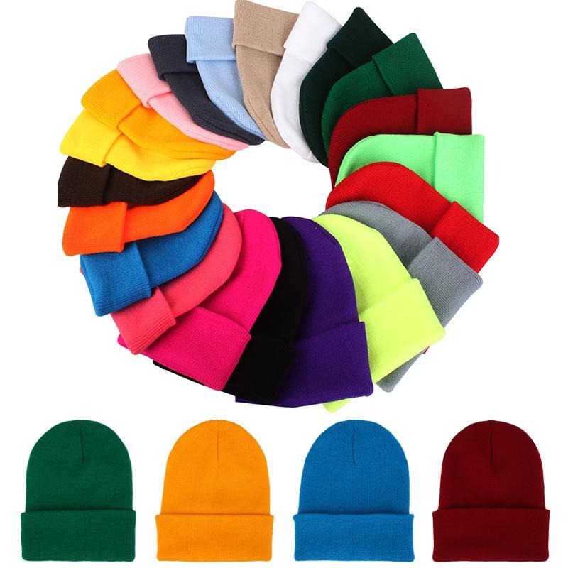 Winter Women Men Knitted Caps Skullies Beanies Fluorescence Crochet Kids  Warm Solid Cap Autumn Boys Girls Soft Elastic Outdoor Ski Hats Winter  Knitted Caps ... 5f0908fe3777