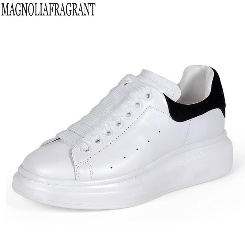 Cheap Big Size 35-40 Flat Shoes Woman Autumn Leather Sneakers Women White  Shoes Fashion Lace-up Platform For Women Zapatos Mujer 11cc2441c1aa