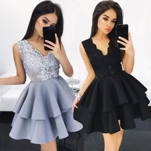 0484384cdde59d Fashion Women Summer Casual Solid Lace Sleeveless Party Evening Sleeveless  Sexy Short Mini Dress Wrap Dresses Plus Size Evening Dresses From Bibei04
