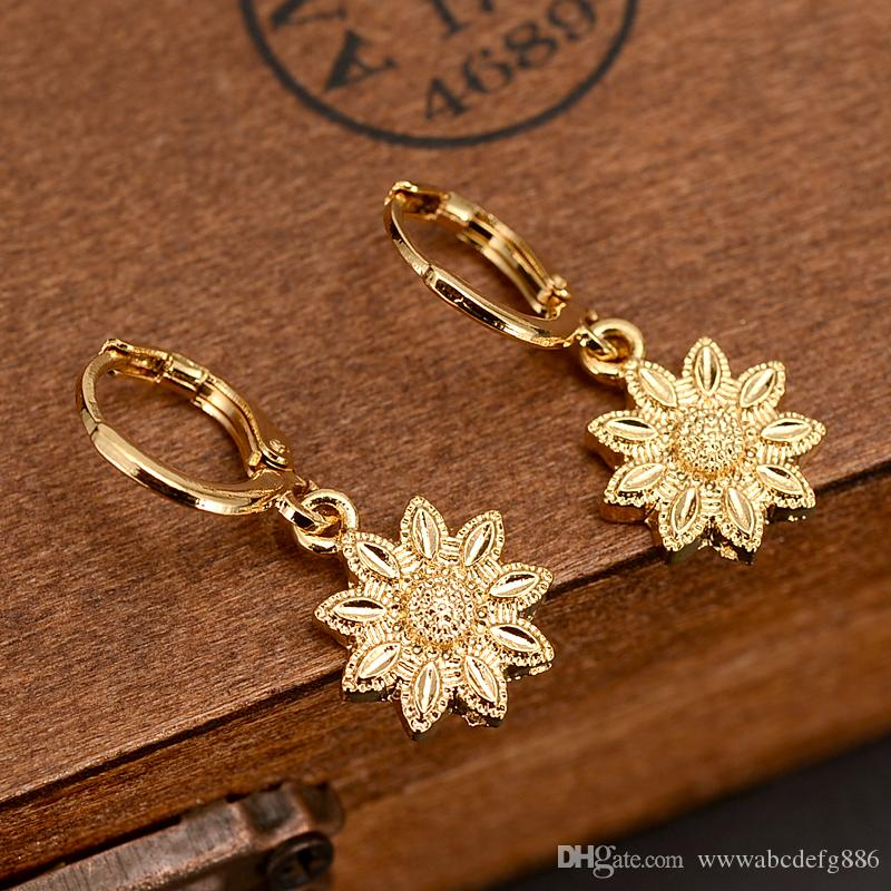 24K Solid Fine Gold Filled flower drop Earrings Women/Girl,Love Trendy Jewelry for African/Arab/Middle Eastern gift