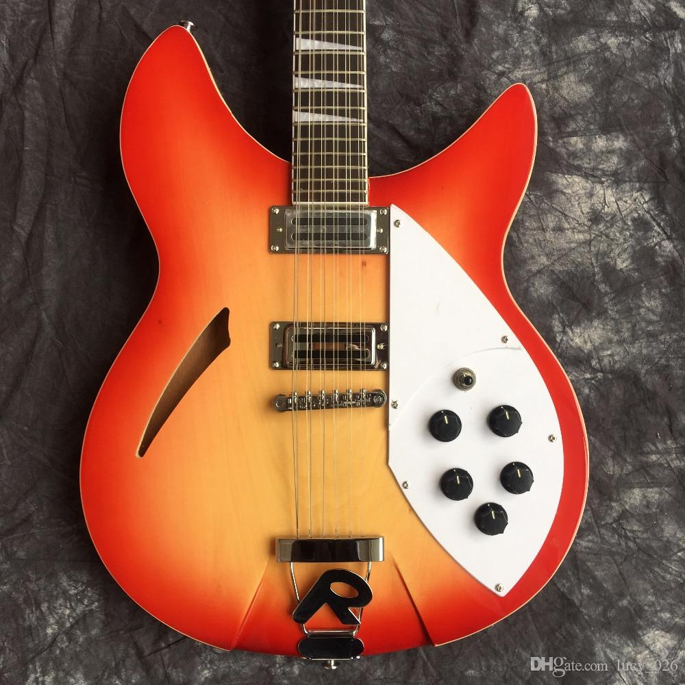 Manufacturer Direct Selling Custom Red Semi Hollow Body 12 String