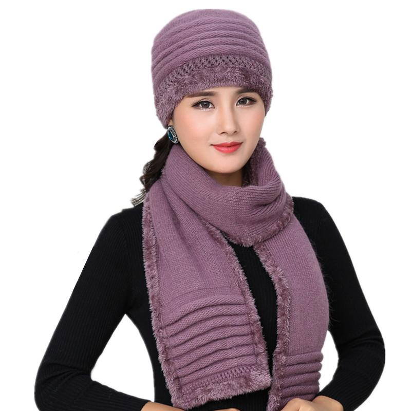 dcbb1720f57 Women Winter Hat And Scarf Set Warm Cashmere Knitted Hat Scarf For Girls Mom  High Quality Rabbit Fur Hats Lady Beanies Cap Shawl Crochet Baby Hats  Ladies ...