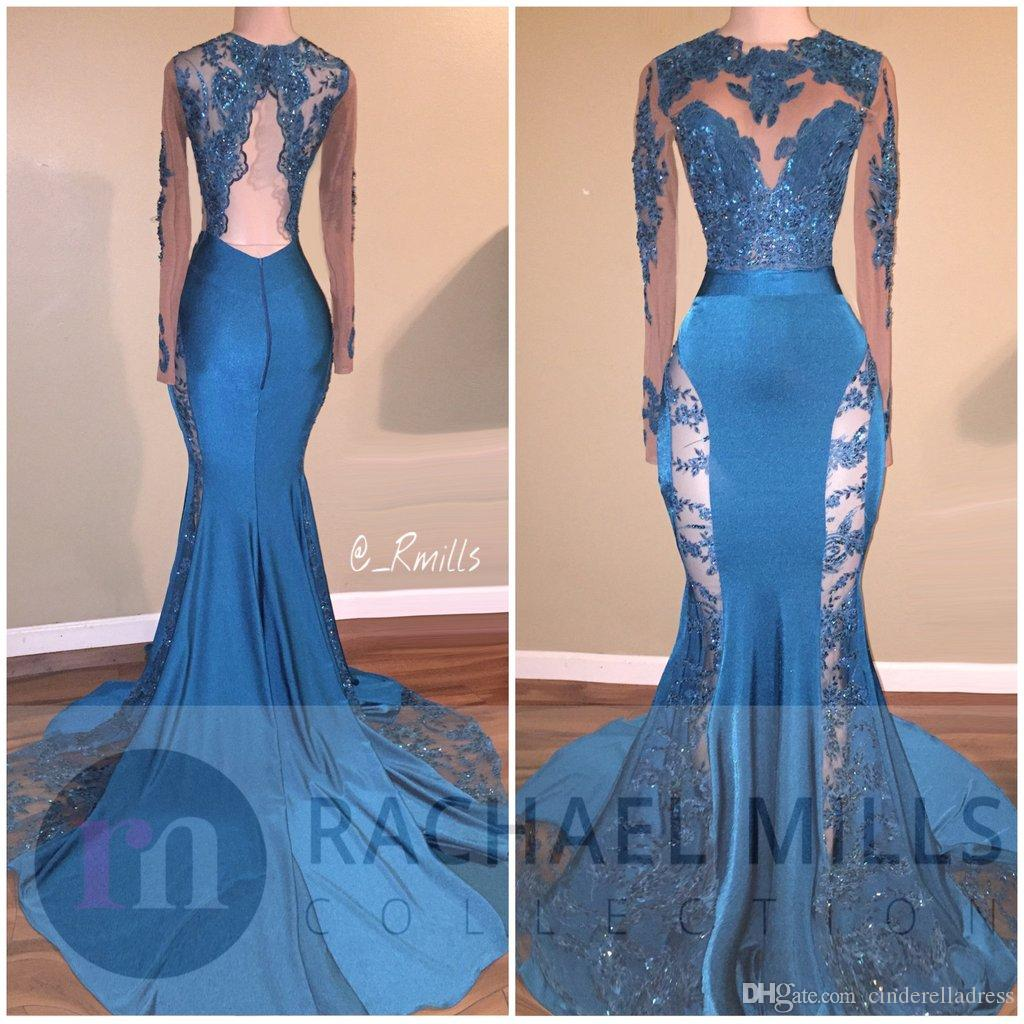 2018 Hunter Jade Lace Sheer Prom Dresses Keyhole Neck Mermaid Long Sleeves See Through Formal Evening Gowns Backless Sequin Party Dress