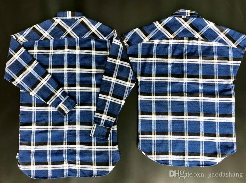 2018 New Fear Of God Camicie Uomo Donna Alta Qualità Justin Bieber Camicie a righe in flanella Camicia elegante marrone blu Camicie moda