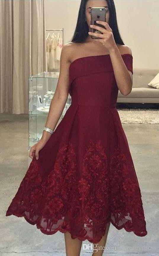 f5a6debd6ab One Shoulder Wine Red Knee Length Homecoming Prom Dresses With Short  Sleeves A Line Satin Lace Cheap Graduation Party Formal Dress Gowns New  Long Short ...