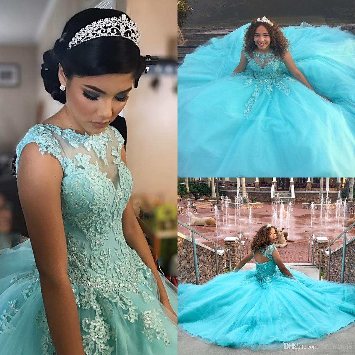 7123d775bd Pretty Aqua Blue Quinceanera Dresses Ball Gown Sheer Neck Applique Beaded Prom  Dress Open Back Tulle Sweet 16 Dresses Best Vestidos 15 Anos Design Your  Own ...