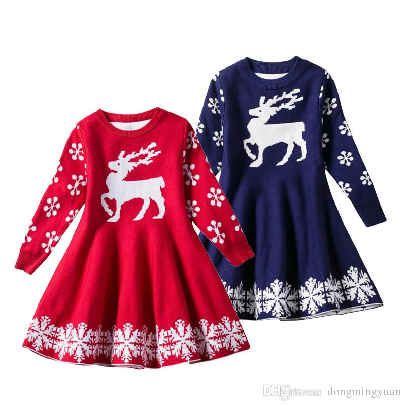 891ee3481c9e Christmas Deer Dress For Baby Girl Warm Costume Winter New Year ...