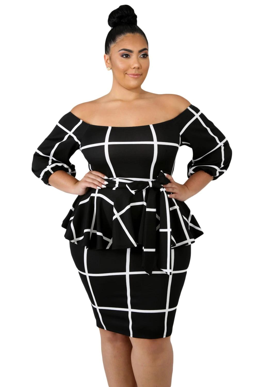e20433c29d5ad New Large Size Women Clothing Autumn 3/4 Sleeve Black White Checked Off  Shoulder Plus Size Peplum Dress 4XL 5XL LC63041