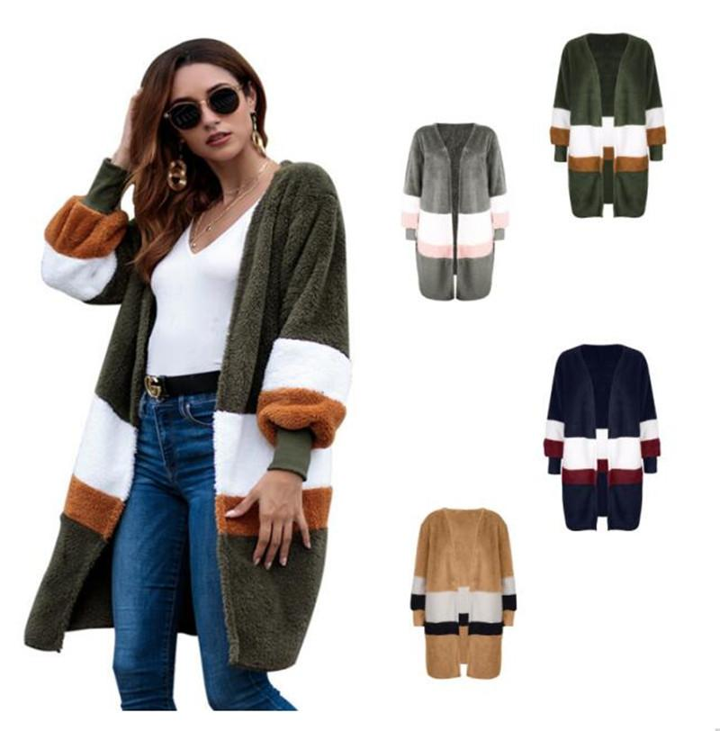 6d83dd0bf882 Women Winter Plush Sweater Cardigan Girls Mid-length Sweater Coat ...