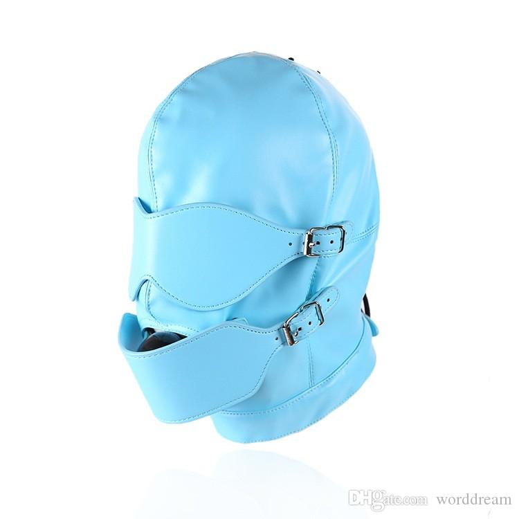 Bdsm Fetish Sex Leather Hood Mask Headgear Mouth Plug Ball Gag Bondage Slave Restraint Lockable Flirting Toys In Adult Games
