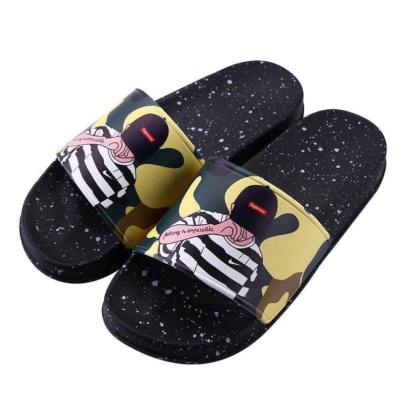 a0803775a9d 2018 Hot Brand Men Women Beach Slide Sandals Couple Scuffs Slippers ...