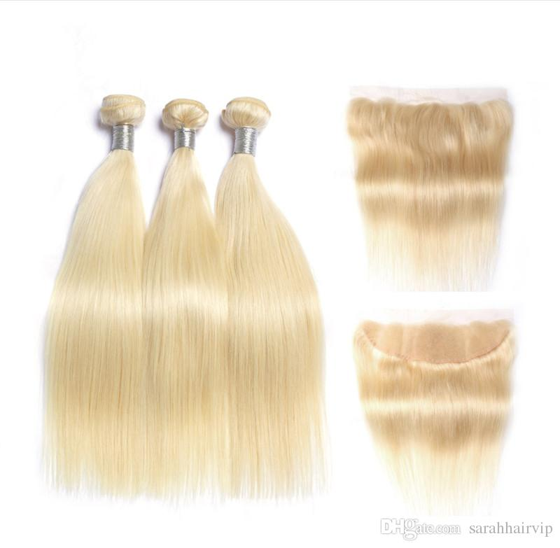 Brazilian Blonde Straight Hair Bundles with Lace Frontal Closure Colored 613 Platinum Blonde Human Hair Weaves with 13X4 Full Lace Frontal