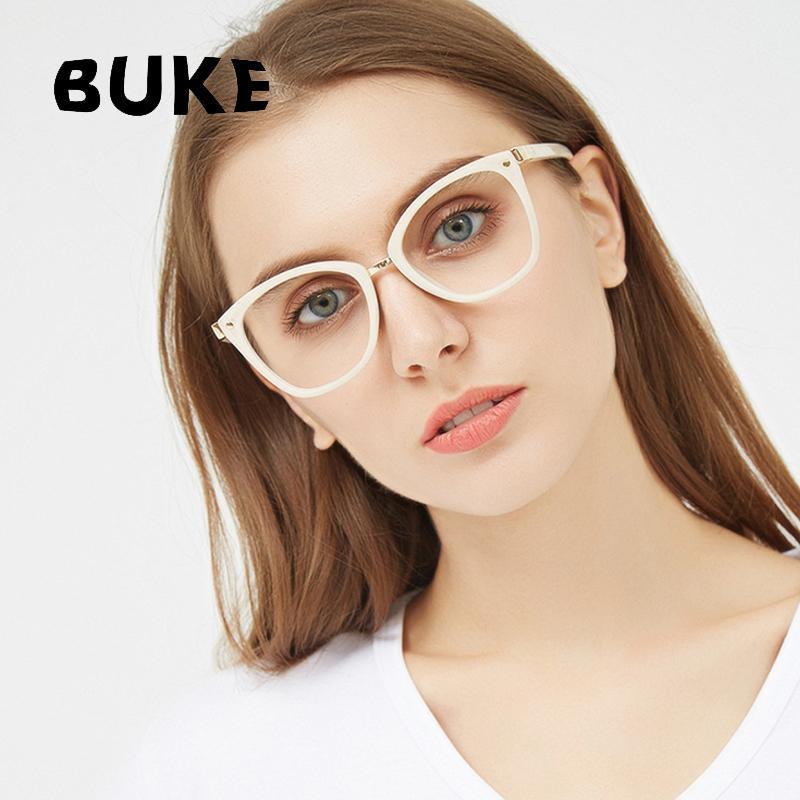 2443046582 2019 BUKE Fashion Cat Eye Reading Eyeglasses Brands Glasses Frames 2018 New  Glasses Women Frame Ultra Light Frame Clear From Yuijin