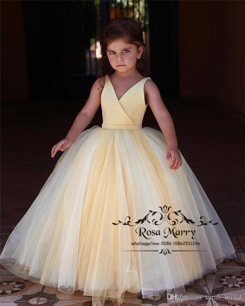 Light yellow ball gown cheap flower girls dresses 2019 plus size v light yellow ball gown cheap flower girls dresses 2019 plus size v neck simple tulle girls pageant birthday prom party gowns for weddings pretty flower mightylinksfo