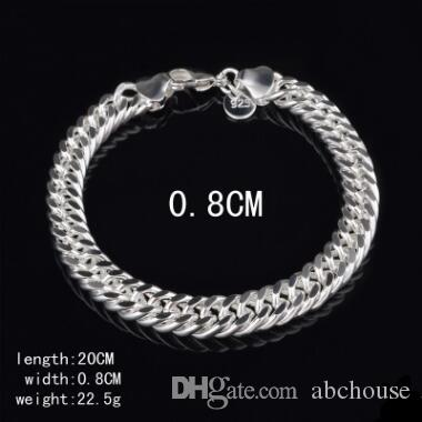 8MM 10MM 925 Sterling silver Bracelets Figaro chain bracelet Men Bracelet Fashion Jewelry