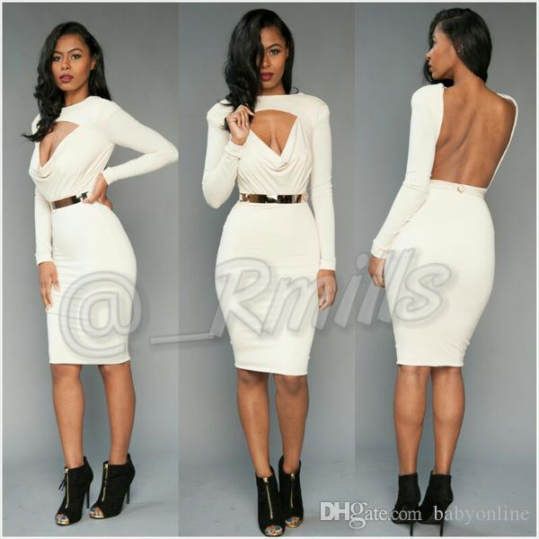 Designed Sheath White Mini Short Cocktail Dresses 2018 New Backless Long Sleeves Keyhole Neck Stretchy Women Occasion Prom Evening Gowns