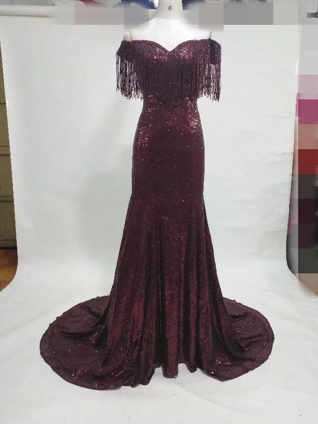 Burgundy Sequin Evening Dresses off shoulder mermaid tassel rhinestone modest 2018 evening gowns long vintage arabic dresses