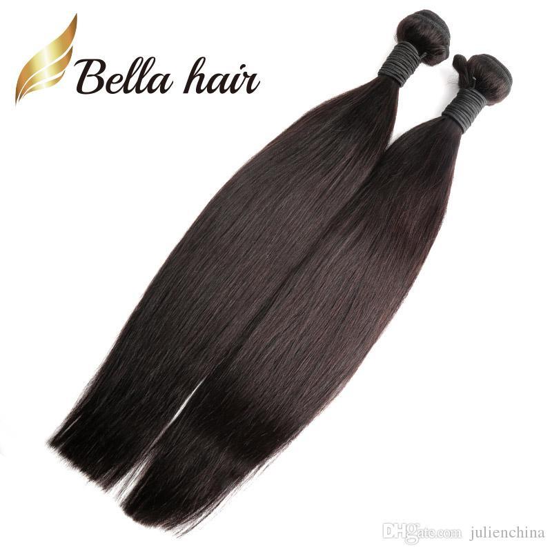 Bellahair 7a寄付ペルー髪の紙3束黒の色の人間の髪の伸び直進毛織り米国送料無料Julienchina