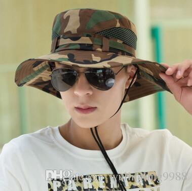 Cotton Mult Color Military Camouflage Bucket Hats Camo Fisherman Hats With  Wide Brim Sun Fishing Bucket Hat Camping Hunting Hat Wool Hat Black Hats  From ... f044d8f5b6b