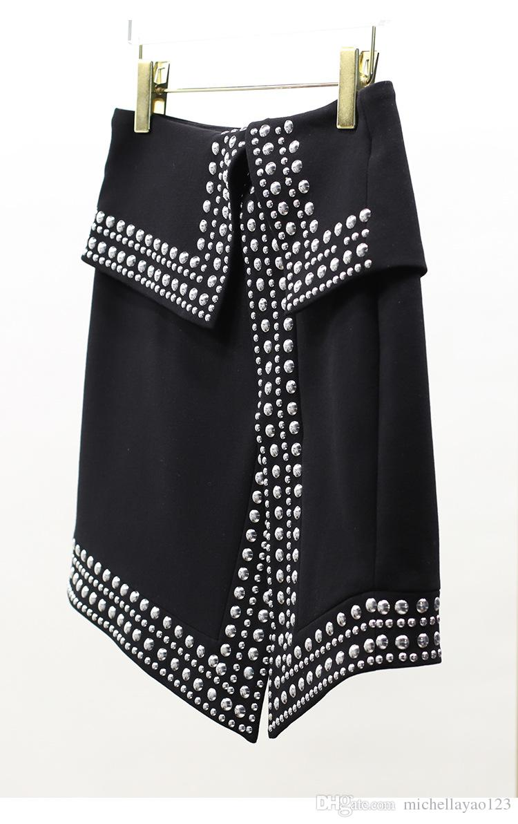 Бесплатная доставка 2018 черный бисер сторона щели империи короткие женские юбки Марка же стиль юбки женщины faldas mujer m0057